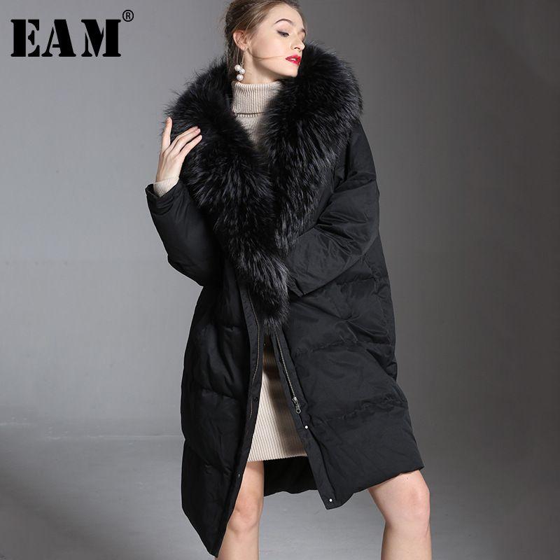 [EAM] 2018 New Autumn Winter Hooded Full Sleeve Zipper Hair Collar Vintage Keep Warm Women Fashion Tide Long Down Jacket OA848