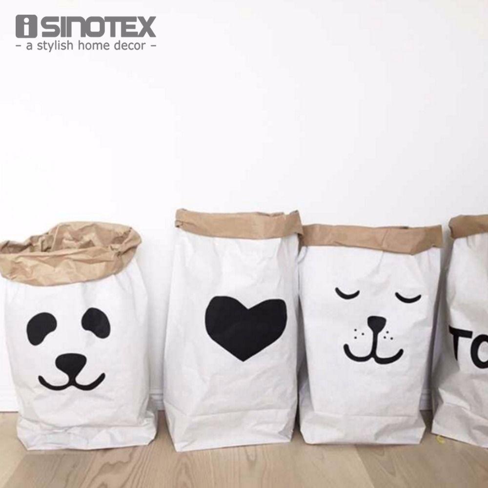 Ins мода экологичный Тяжелая Крафт Бумага сумка Детская комната Игрушечные лошадки Организатор сумка складная сумка для хранения 61*32*16 см