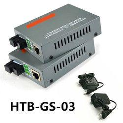 5 Pair HTB-GS-03 Sebuah/B Gigabit Serat Optik Media Konverter 1000 Mbps Tunggal Mode Serat Tunggal SC Port Eksternal sumber Daya Listrik