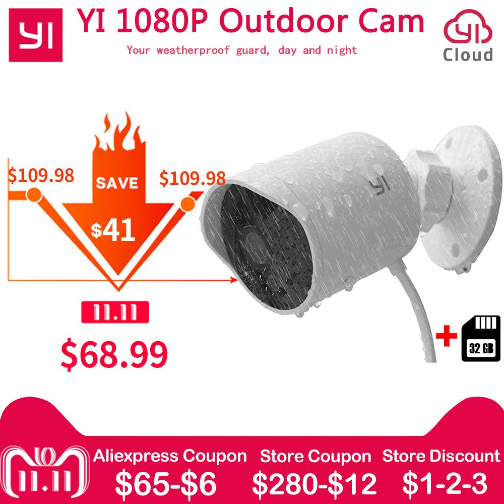 Xiaomi YI Outdoor Security Camera 1080P FHD Wireless WIFI IP Cloud Camera Waterproof Night Vision Security Surveillance WebCam