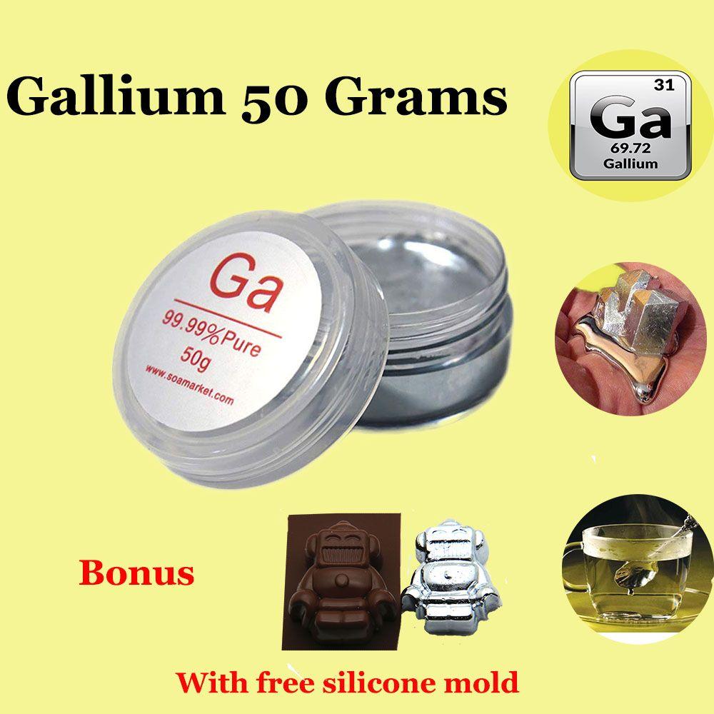 Métal de Gallium 50 grammes 99.99% métal de fusion de métal de Gallium pur GA