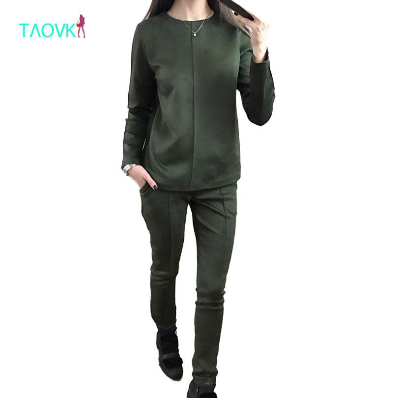 TAOVK new fashion Russia style Women's Autumn Suede Tracksuit Women Hoodies 2-Piece Set t-shirts+Long Pants) Leisure Suits