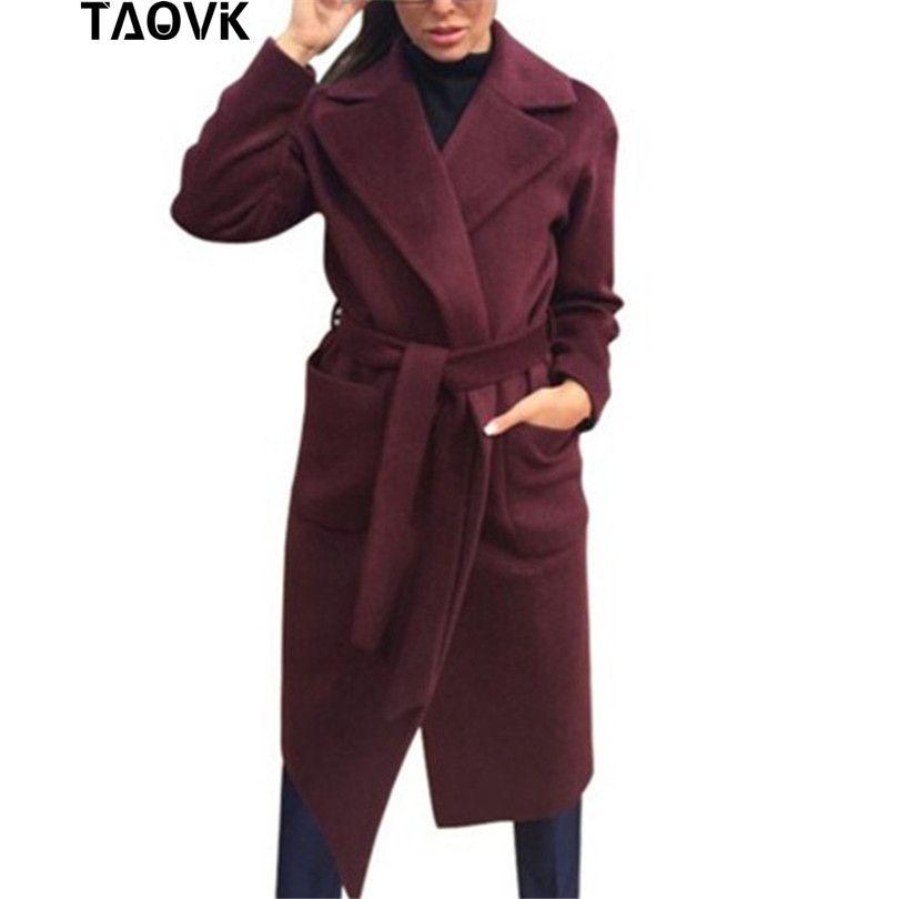 TAOVK Women woolen Long sleeve Medium-long notched collar open front parka belt Coat