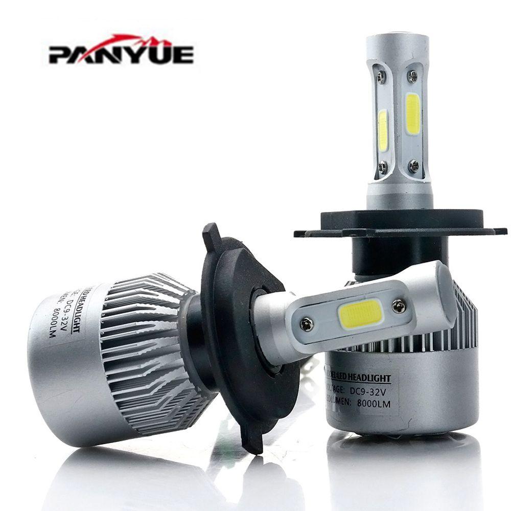 PANYUE S2 Auto Auto H4 H7 LED Scheinwerfer 6500 karat 8000LM 12 v COB Leuchtmittel Hallo Lo strahl 2/ 3 dioden Weiß Autos In Der Nähe Von Weit Licht
