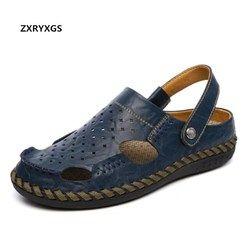 Asli Buatan Tangan Kulit Sepatu Pria Sandal Flat Kasual Sepatu Sandal Sandal 2019 Baru Sepatu Dua Memakai Pria Musim Panas Sandal