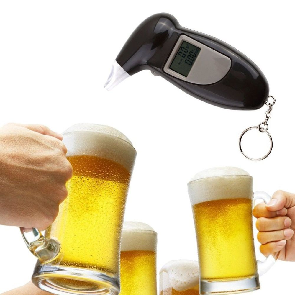 LCD Display Digital Alcohol Tester Professional Police Alert Breath Alcohol Tester Device Breathalyzer Analyzer Detector Test
