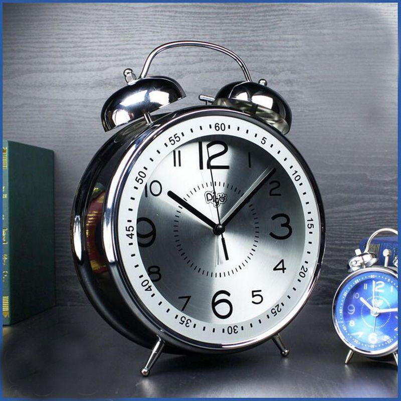 8 pouce Grand Jumbo 23.5 cm Métal Double Twin Sonnette D'alarme horloge Silencieux Non Coutil De Chevet Alarme Montre pour Enfants Chambre bureau