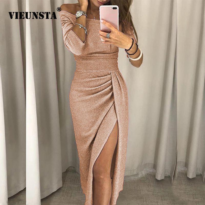 VIEUNSTA Sexy épaules nues robe de soirée femmes haute fente Peplum robe moulante automne trois quarts manches brillant soie robe brillante