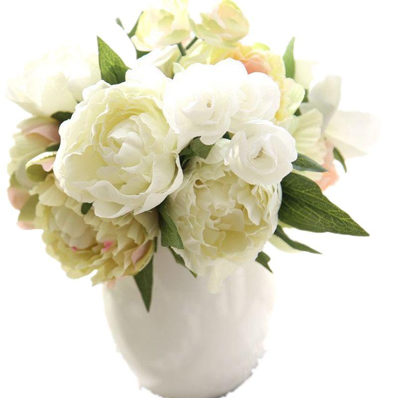 Fleurs artificielles pivoine bouquet feuille maison et fête de mariage en plastique faux pivoines décoration artificielle jaune pivoines variétés