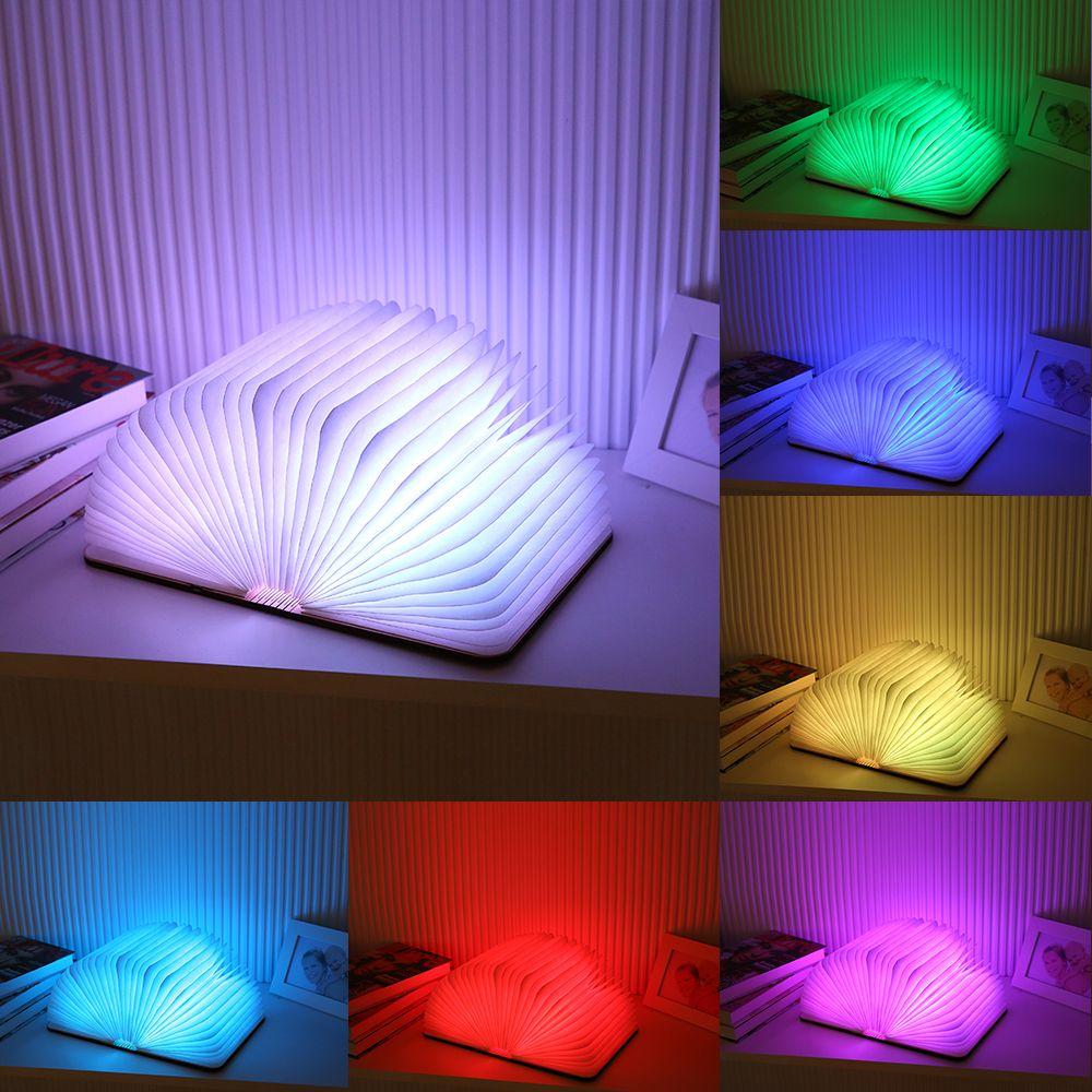 Envío Gratis 7 Colorido Madera Torneada libros Nightlight LED USB Recargable Plegable del Libro de La Lámpara Creativa Lámpara de Mesa de Regalos de Moda