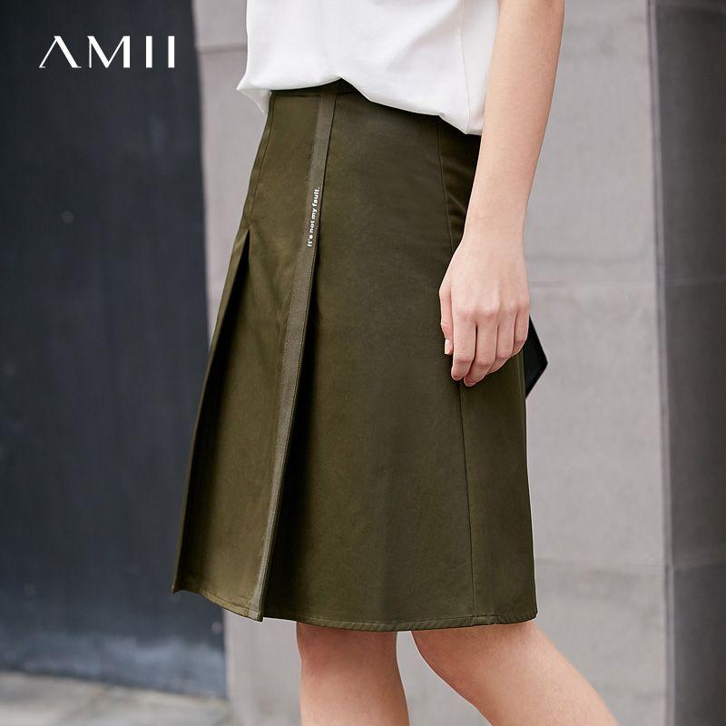 Amii Для женщин минималистский юбка 2018 100% хлопок сплошной принт письмо женский Юбки для женщин