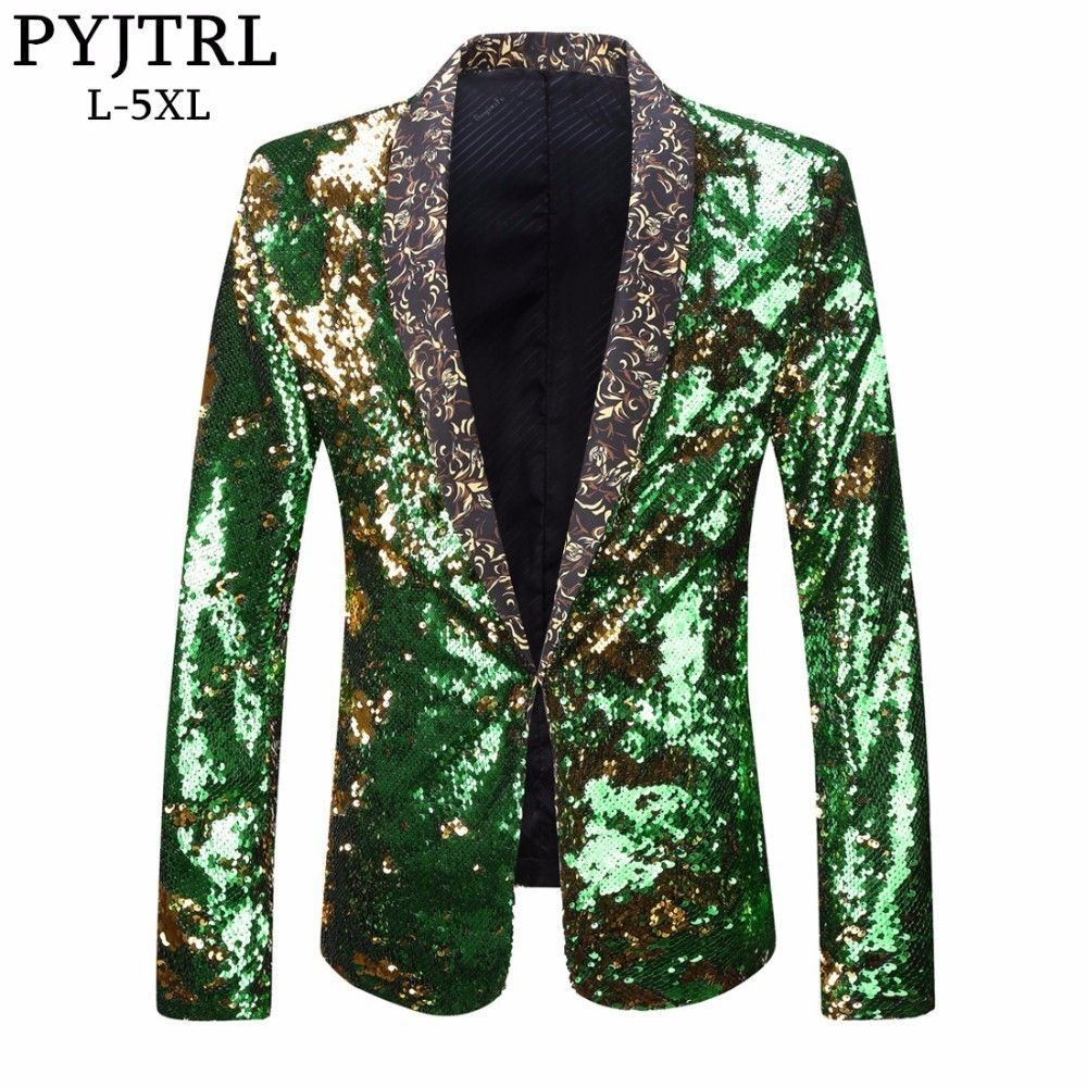 PYJTRL Men Plus Size Double-Color Green Blue Silver Gold Red Black Sequins Blazer Singer Costume Prom Wedding Suit Jacket Outfit