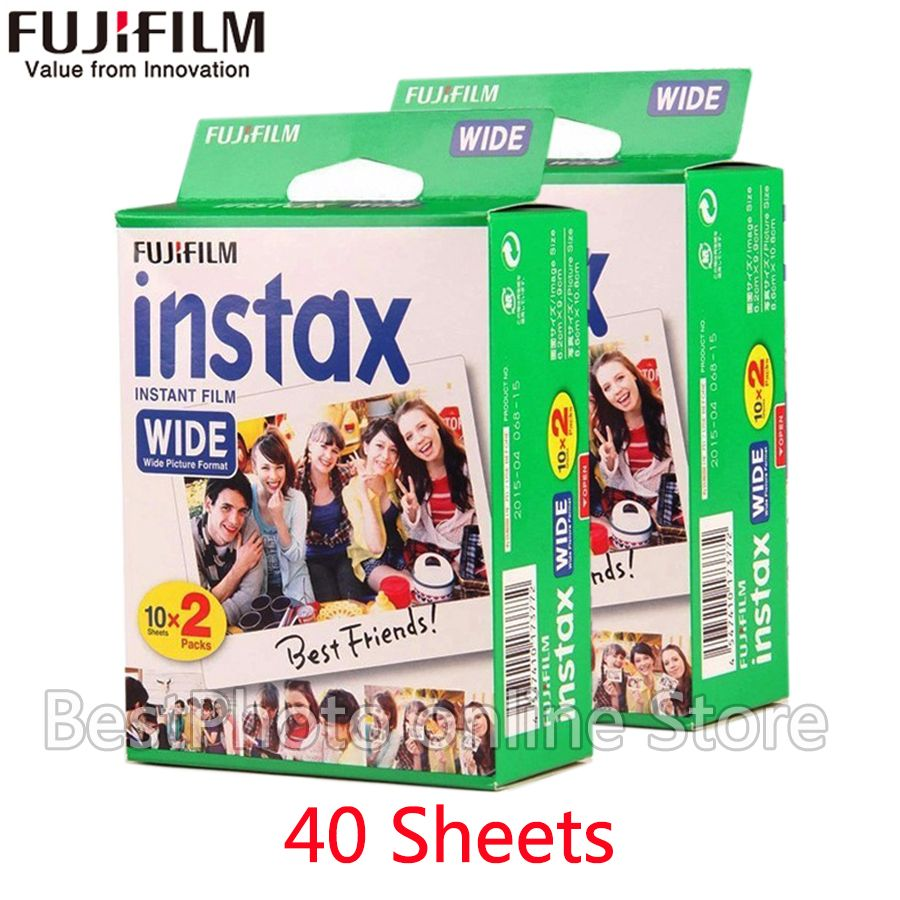 40 Sheets Genuine Fujifilm Fuji Instax instant Wide Film white Edg For Fuji Instant Camera 300/200/210/100/500AF Photo paper