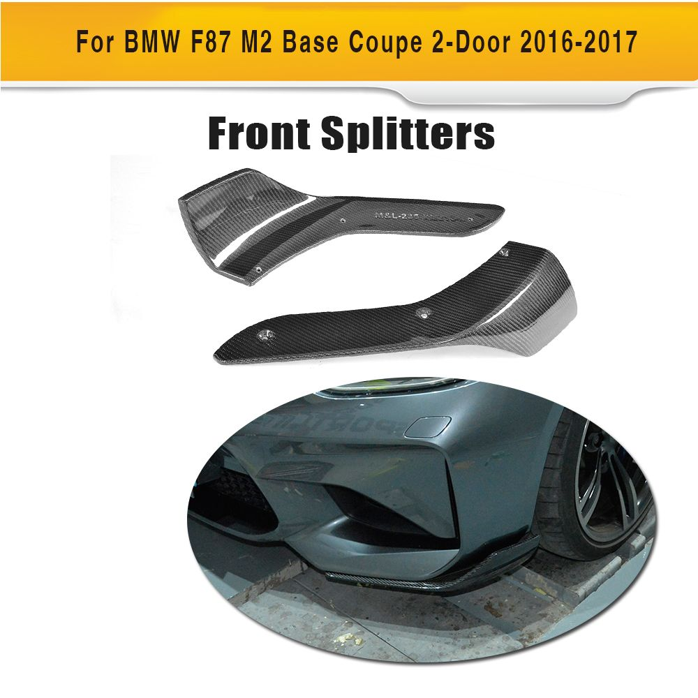 Carbon Fiber Car Aprons Front Bumper Splitters Lip Flaps Cupwings for BMW F87 M2 Coupe 2 Door 2016 2017 2PC