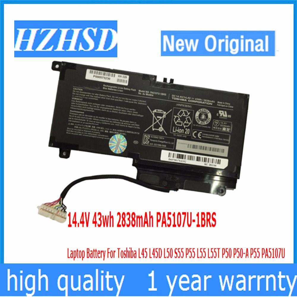 14.4 V 43wh 2838 mAh New Original PA5107U-1BRS Ordinateur Portable Batterie Pour Toshiba L45 L45D L50 S55 P55 L55 L55T P50 P50-A P55 PA5107U