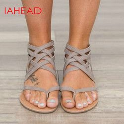 Plus Size 34-43 Summer Women Sandals Flats New Fashion Shoes For Women Casual Rome Style Sandalias AB16