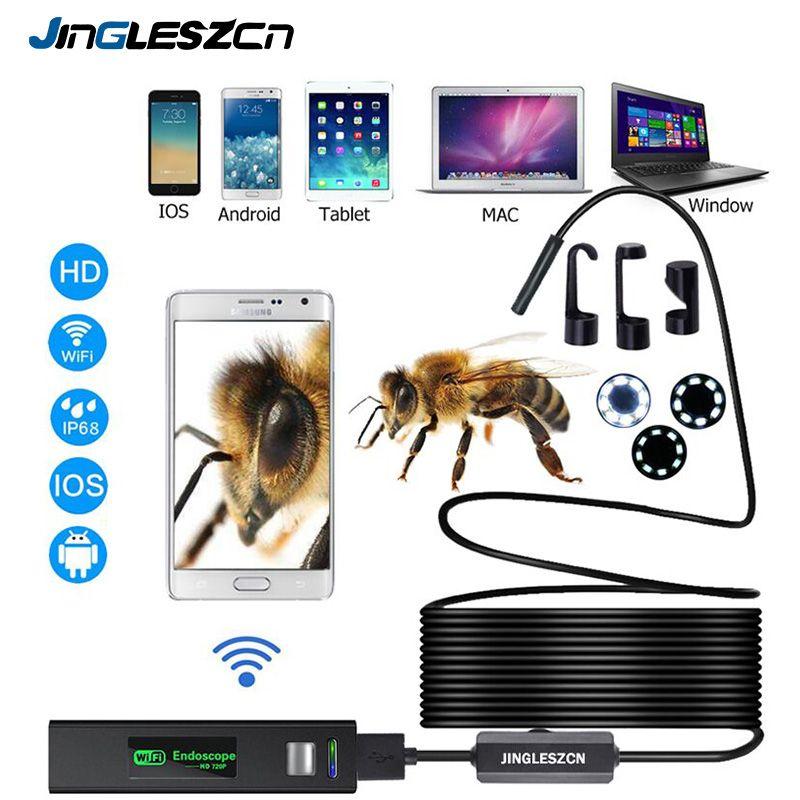Caméra Endoscope WIFI HD 1200 P 1-10 M Mini fil dur étanche sans fil 8mm 8 LED caméra Endoscope pour Android PC IOS