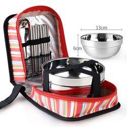 Tri-Polar Stainless Steel Makan Mangkuk Garpu Sendok Sumpit Tableware Set dengan Tas Penyimpanan untuk Piknik Camping Dapur