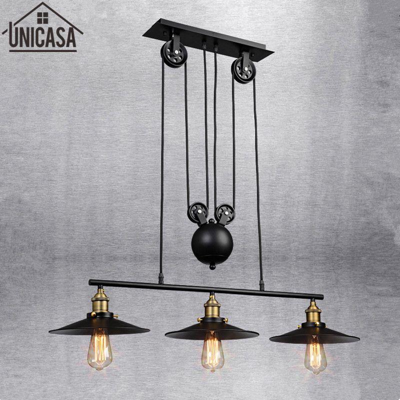 Industrie Bar Pendelleuchten Schmiedeeisen Schwarz Beleuchtung Büro Küche Insel LED leuchte Licht Antike vintage Deckenleuchte