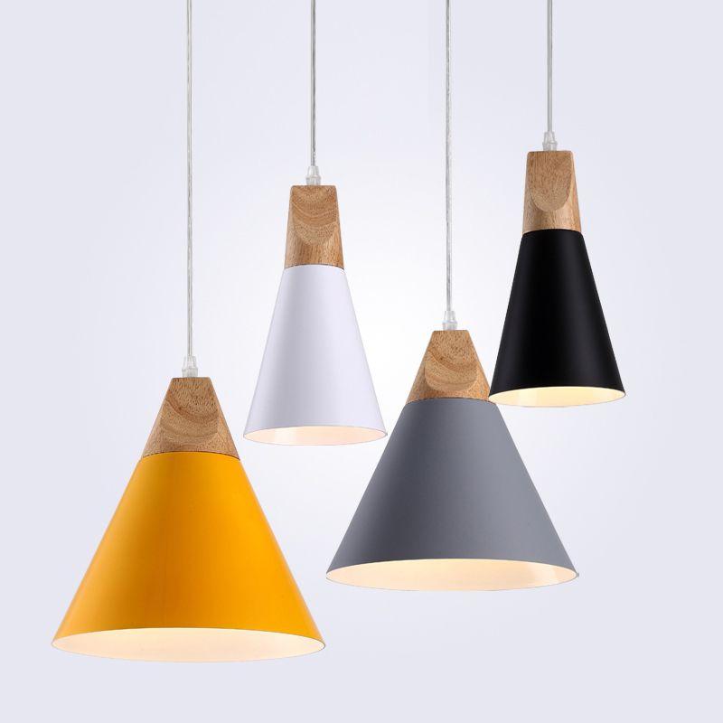 Modern Wood Pendant Lights LED Hanglamp Colorful Pendant Lamps For Restaurant/Bar Lighting luminaire Home Decoration lamparas