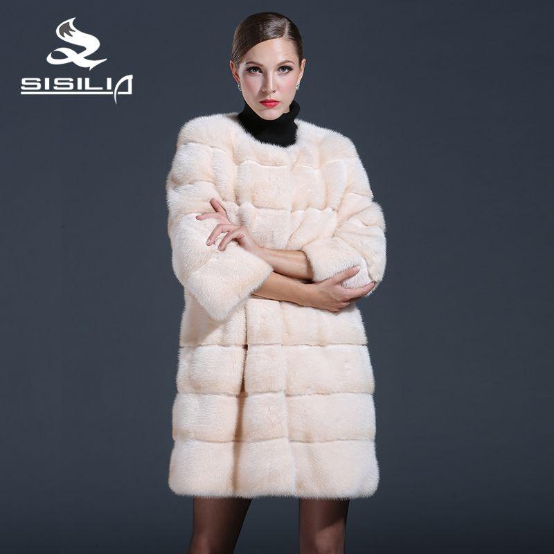 SISILIA 2016 New Women Mink Fur Coats Genuine Leathe Good Quality Mink Fur Coat Women Natural Coats Of Mink Fur Sell Well