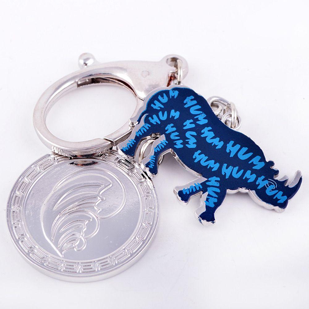 Feng Shui Blue Rhinoceros Anti Burglary Amulet Keychain charm or handbag hanging W1071 rhino key chain