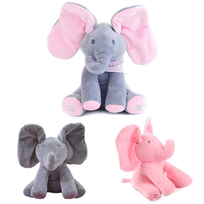 30cm Play Music Elephant 2018 Electric Elephant Peek a boo Plush Soft Toy Animal Stuffed Doll Play Hide Seek CuteEducational Toy