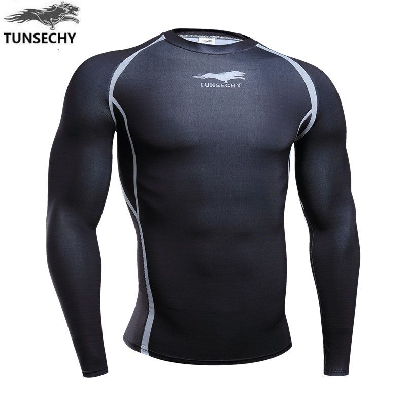 2017 TUNSECHY fashion men's 3D digital printing round neck Long-sleeved breathable compressed T-shirt Wholesale and retail