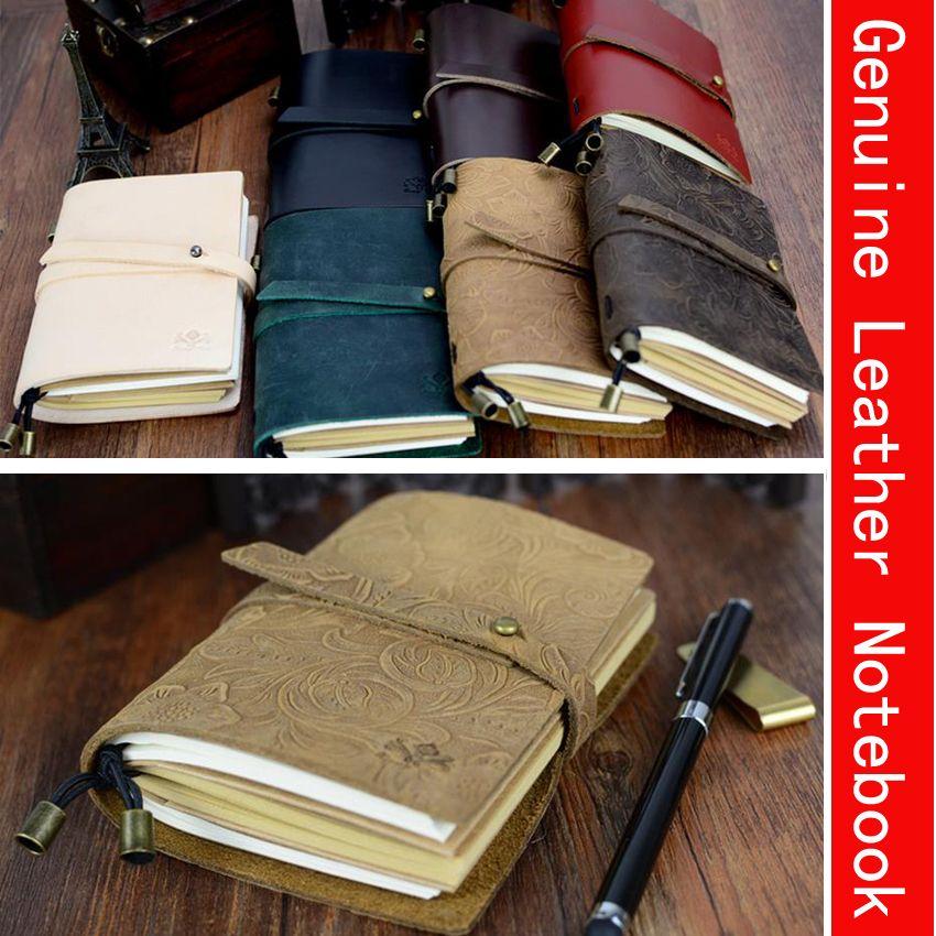 130mm * 100mm Cuero Genuino Más Nuevo Diseño de estilo Europeo de La Vendimia Diario de Viaje Cuaderno del Viajero de Regalo Hecho A Mano 01661
