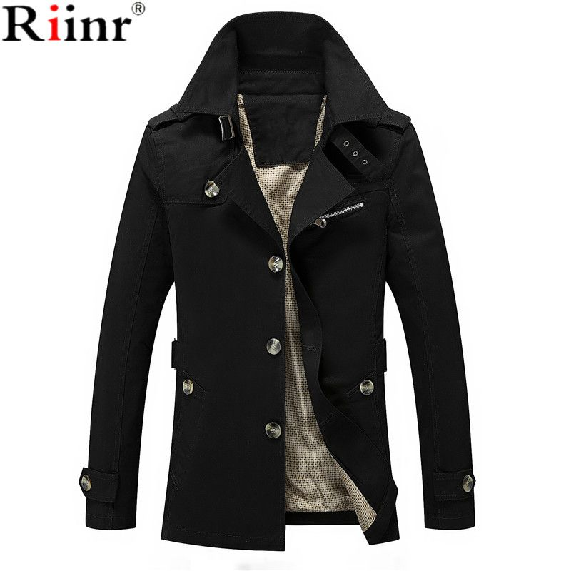 Riinr Men Jacket Coat Long Section Fashion <font><b>Trench</b></font> Coat Jaqueta Male Veste Homme Brand Casual Fit Overcoat Jacket Outerwear