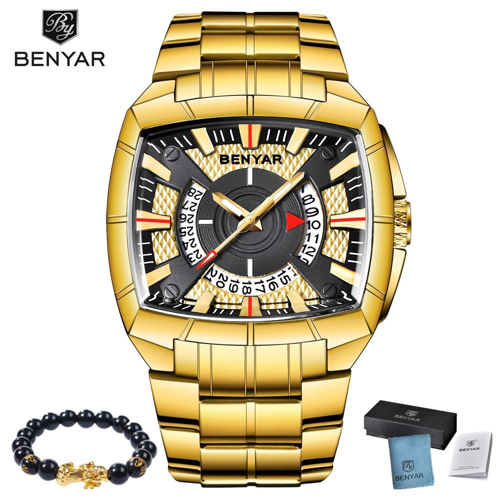 2019 New BENYAR Luxury Brand Mens Sport Watch Gold Full Steel Quartz Watches Men Waterproof Military Clock Man Relogio Masculino