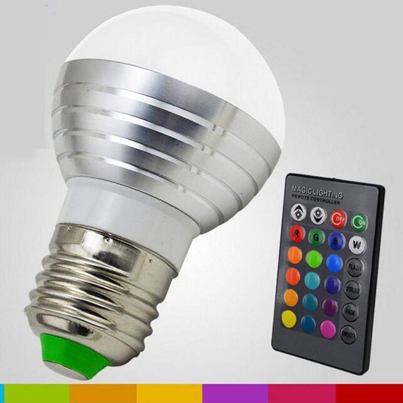 RVB A MENÉ LA Lampe AC85-265V 3 w E27 E14 GU10 LED 16 Ampoule Couleur Changeante Lampe multicolore avec Télécommande éclairage Led