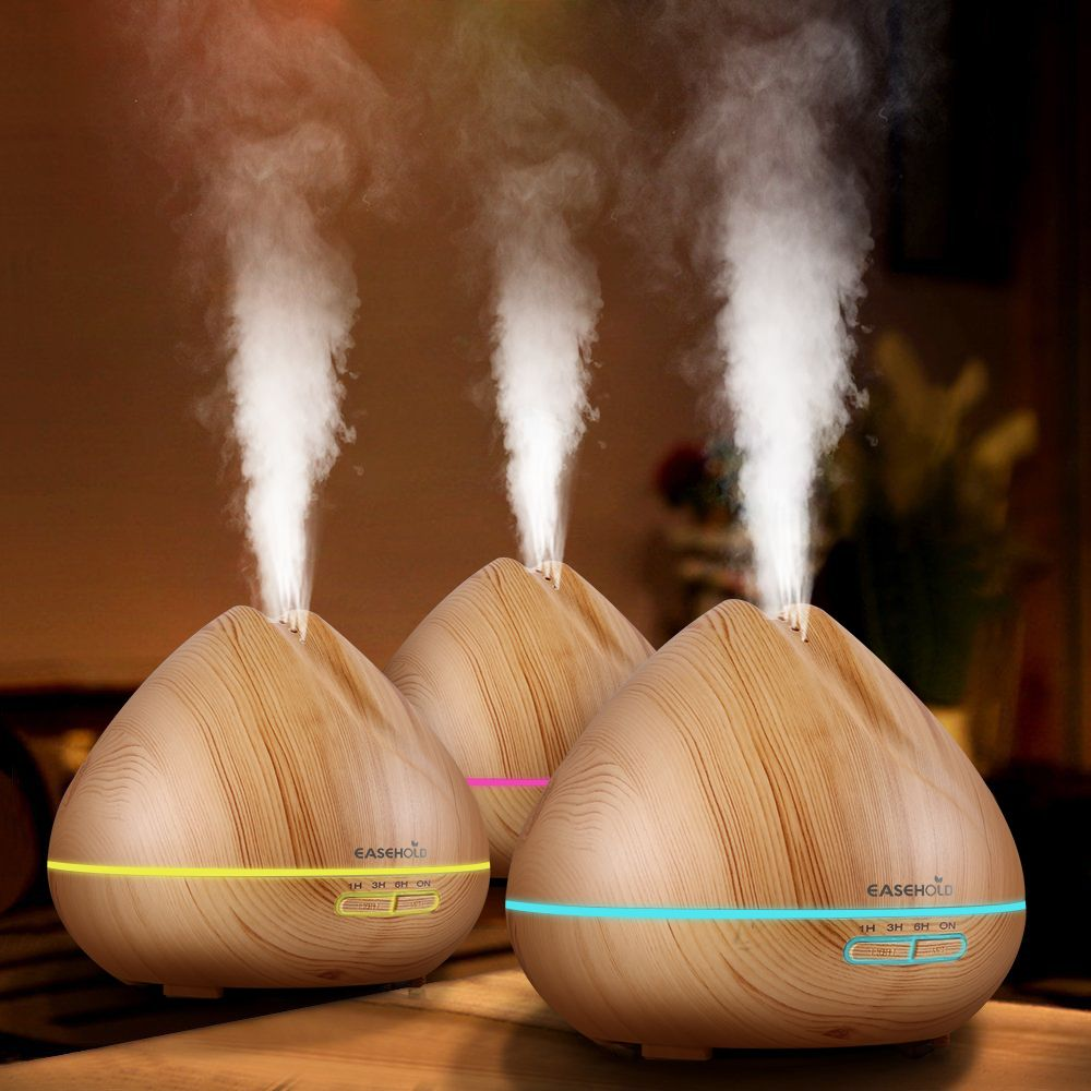 EASEHOLD 400ml New Style Cool Mist Humidifier Ultrasonic Aroma Essential Oil Diffuser 7 Color Changes for Office Bedroom Living