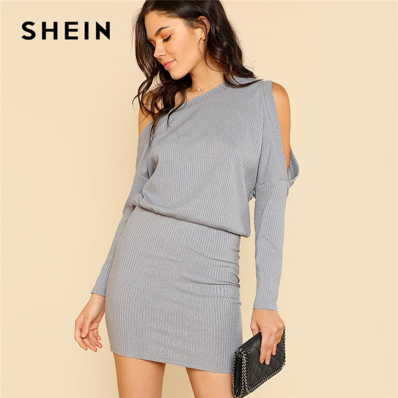 SHEIN Asymmetric Cold Shoulder Rib Knit Blouson Dress Grey Long Sleeve Women Plain Short Dress 2018 Elegant Party Pencil Dress