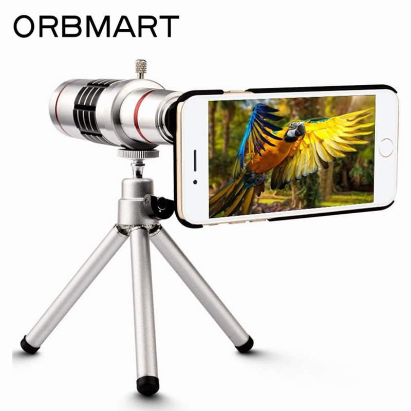 ORBMART 18X Optical Zoom Telescope Mobile Phone Lens For Apple iPhone 7 7 Plus With Mini tripod And Back Case Cover