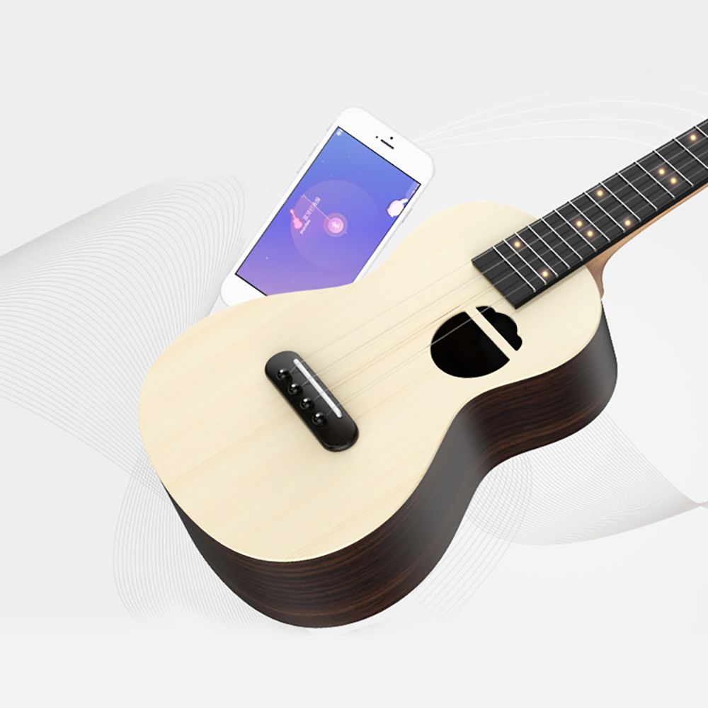 Populele S2 23 Inch Rosewood Soprano Wireless Bluetooth Smart Acoustic Electric Guitar Ukulele 4 String Mini Portable Guitarra