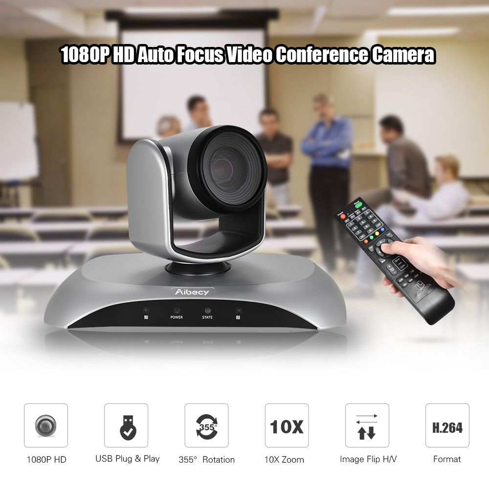 Aibecy 1080P HD USB Video Conference Camera 10X Optical Zoom AF Auto Scan Plug-N-Play with Infrared Remote Control for office