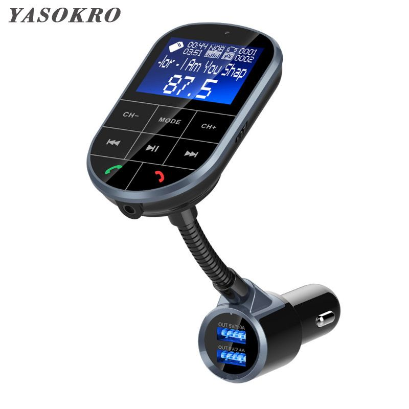 YASOKRO FM Transmitter Aux Modulator Bluetooth Handsfree Car Kit Car Audio MP3 Player with 1.44 LCD display Dual USB Car Charger