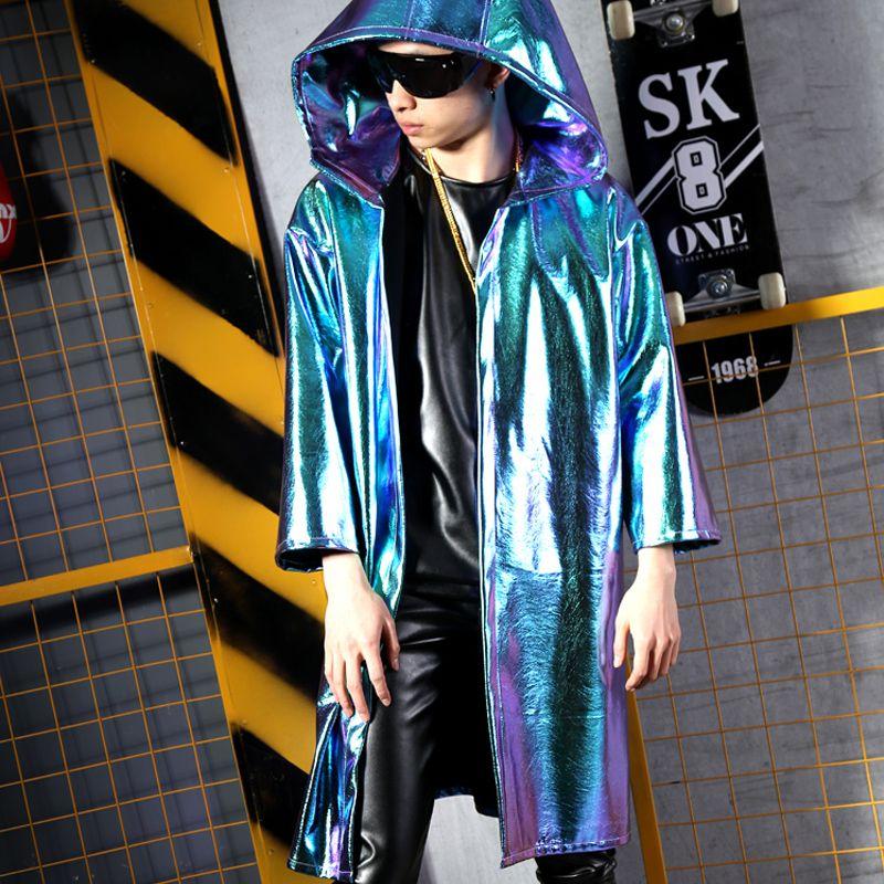 Kühle Wissenschaft PU Mantel Mantel Männlichen Sänger DJ DS Nachtclub Zeigen GO GO Kleid Bar Friseur Bühnenshow Kostüme Heißer Verkauf M-5XL