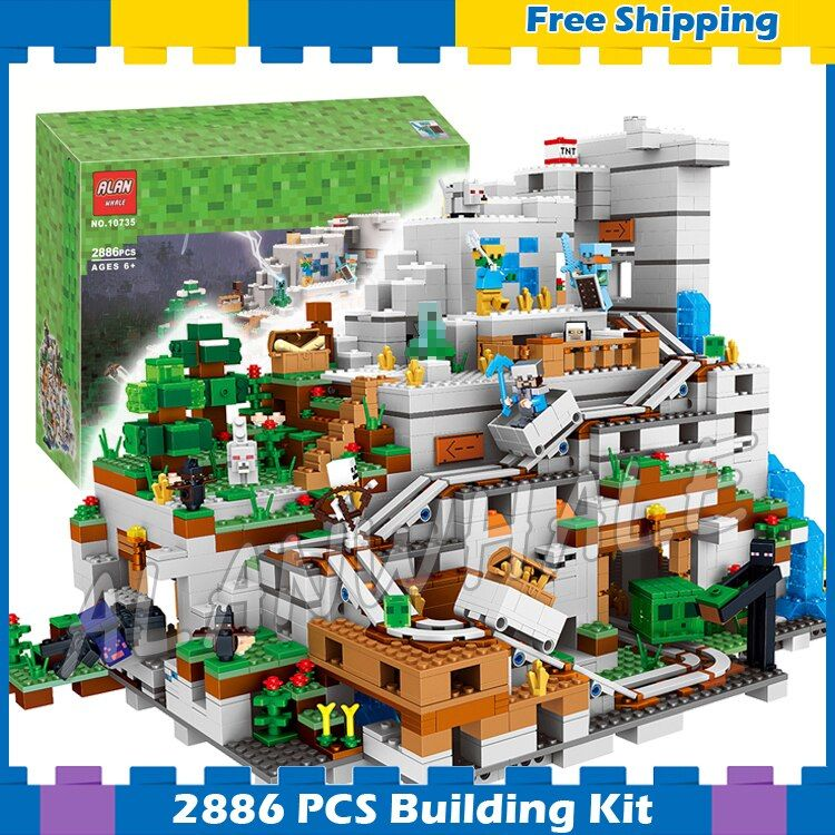 2886pcs My World The Huge Mountain Cave Minecart Track 10735 Model Building Blocks Toys Bricks Compatible with Lego Minecrafted