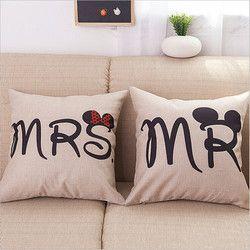 M. et Mme Souris Lettres Housse De Coussin Coussin Couverture De Toile de Coton Décoratif Couple Amoureux Coussin Couvre La Maison Taie D'oreiller