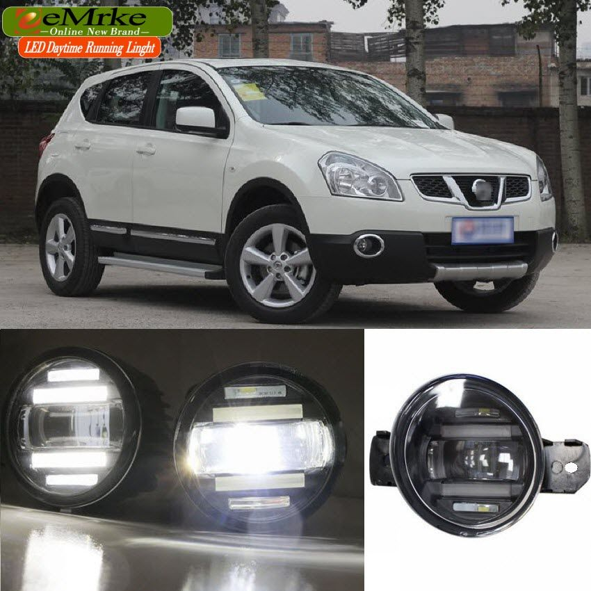 eeMrke Xenon White High Power 2in1 LED DRL Projector Fog Lamp With Lens For Nissan Qashqai J10 NJ10 (+2) J11 2006-2016