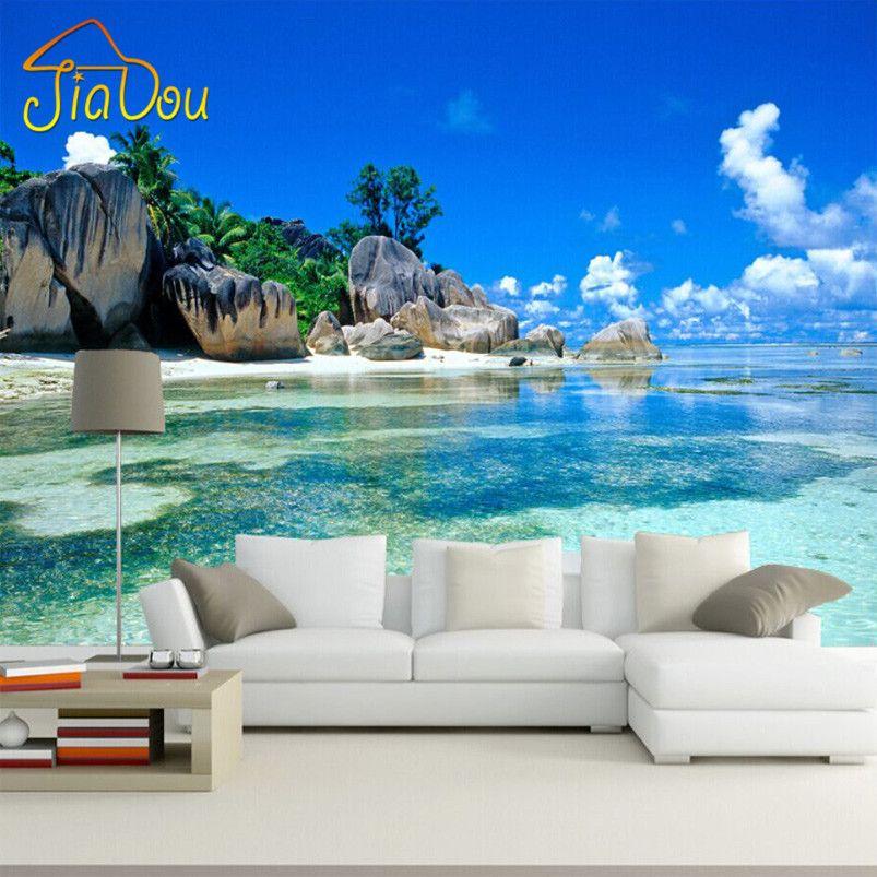 Benutzerdefinierte 3D Wandbild Tapete vlies Schlafzimmer Livig Zimmer TV Sofa hintergrund Wand papier Meer Strand 3D Fototapete Home Decor