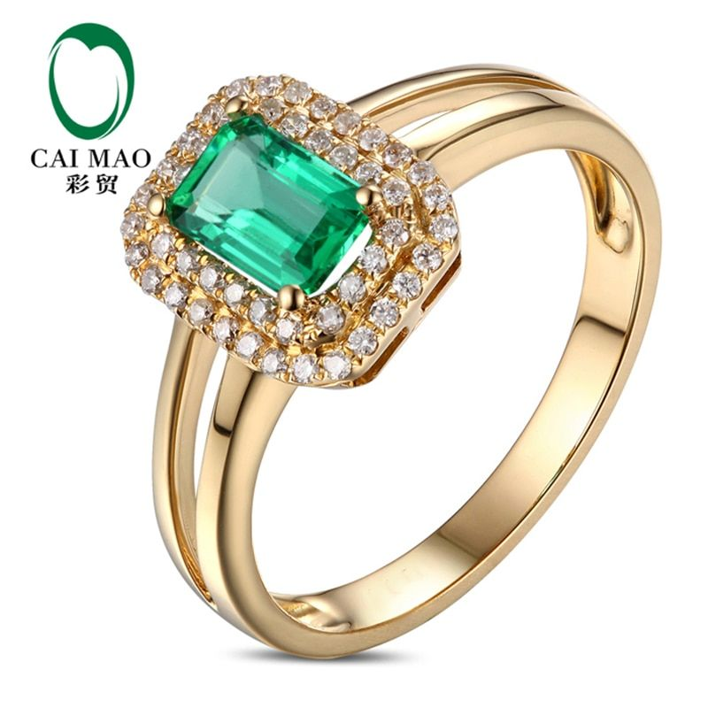 0.73ct Colombian Emerald Diamond Engagement Ring In 14k Yellow Gold
