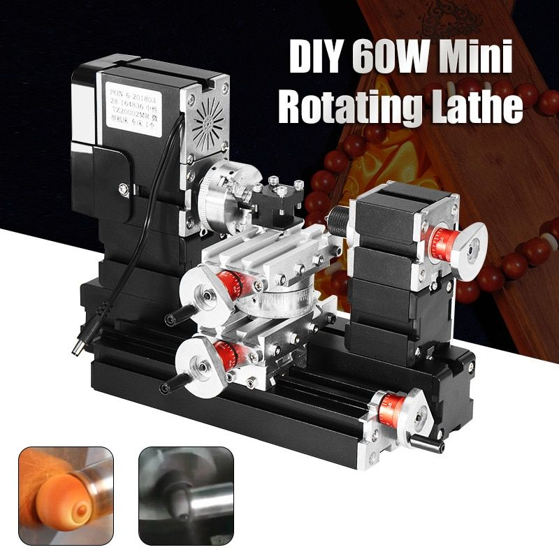 Neue 60 W 12000 rpm Mini Metall Rotierenden Drehmaschine DIY Holz Holz Drehmaschine Modell, Der Werkzeug Fräsen Maschine Kit