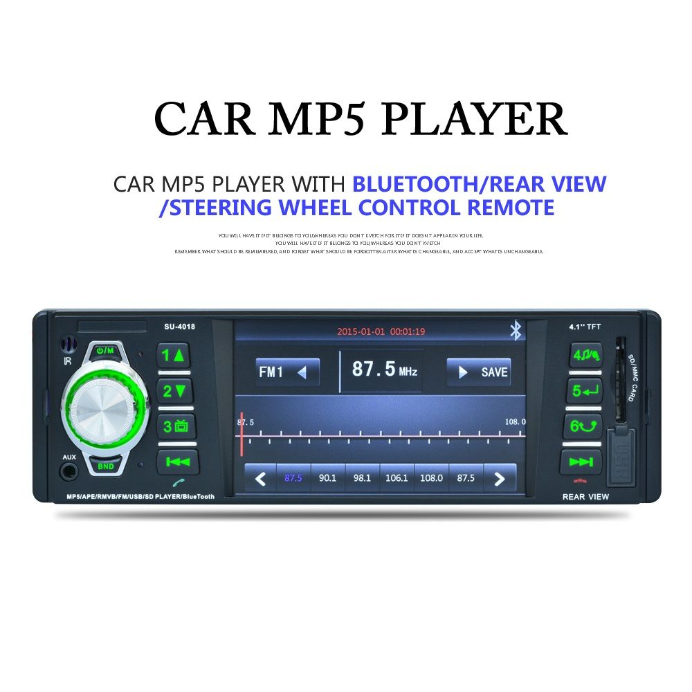 4018 4.1inch 1Din HD Car MP5 Player Video Audio Radio Support Bluetooth FM/AUX/USB/TF Steering Wheel Control Rear View Camera