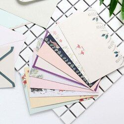 1 Set Belle 4 Feuille Lettre Papier + 2 Pcs Enveloppes Finement fleur Animal Lettre Pad Ensemble Papier à Lettres pour L'école de Bureau fournitures