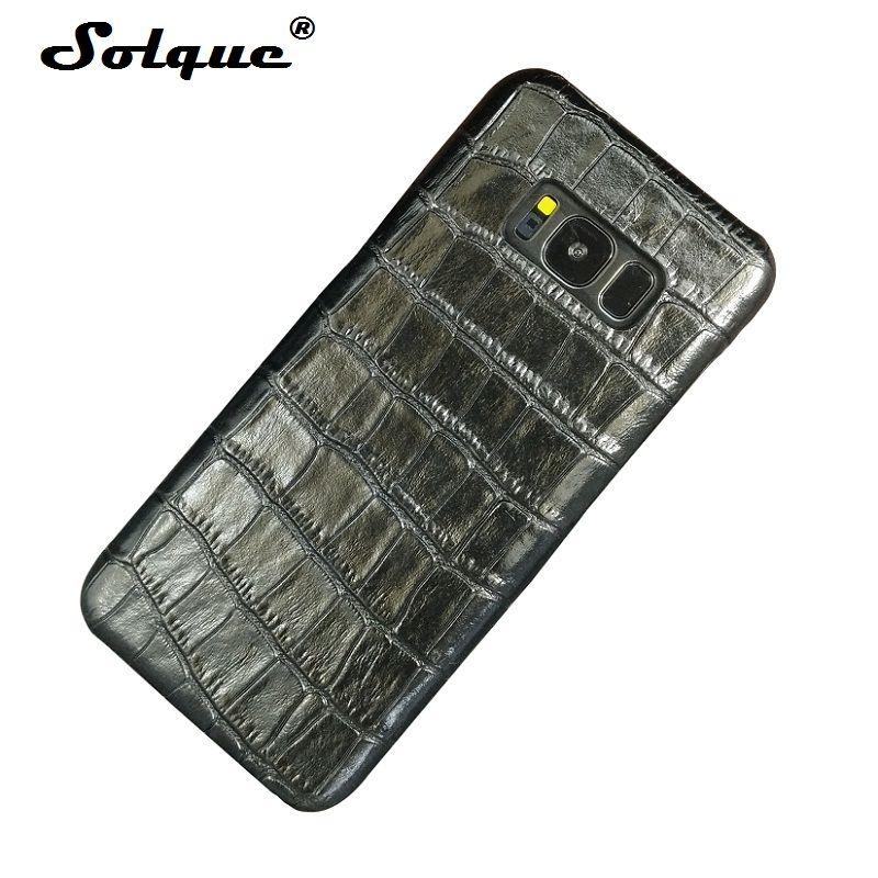 Solque En Cuir Véritable étui pour samsung Galaxy S8 S9 Plus Note 8 9 S 8 Téléphone Portable Mince Couverture En Cuir De Luxe 3D Motif Crocodile