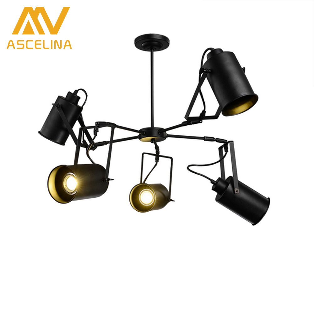 ASCELINA LED Pendant light American Retro Industrial Creative Adjustable Spotlight Multiple Lamp Holder Rooms Bar Clothing store