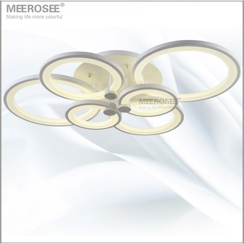 Blanc LED Plafond Luminaire LED Anneau Lustre Lumière Grand Encastré LED Cercles Lampe pour salle à manger assis chambre